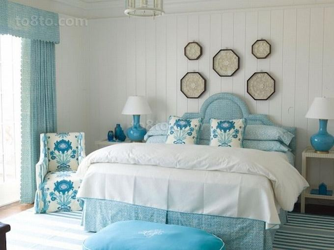78平米小户型淡蓝色调卧室装修效果图大全2014图片