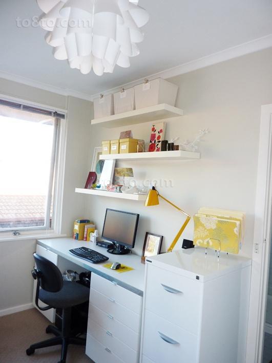 白色简约的书房装修效果图大全2014图片