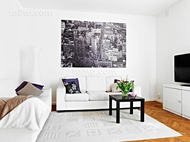轻盈自然简约风小户型客厅装修效果图大全2014图片