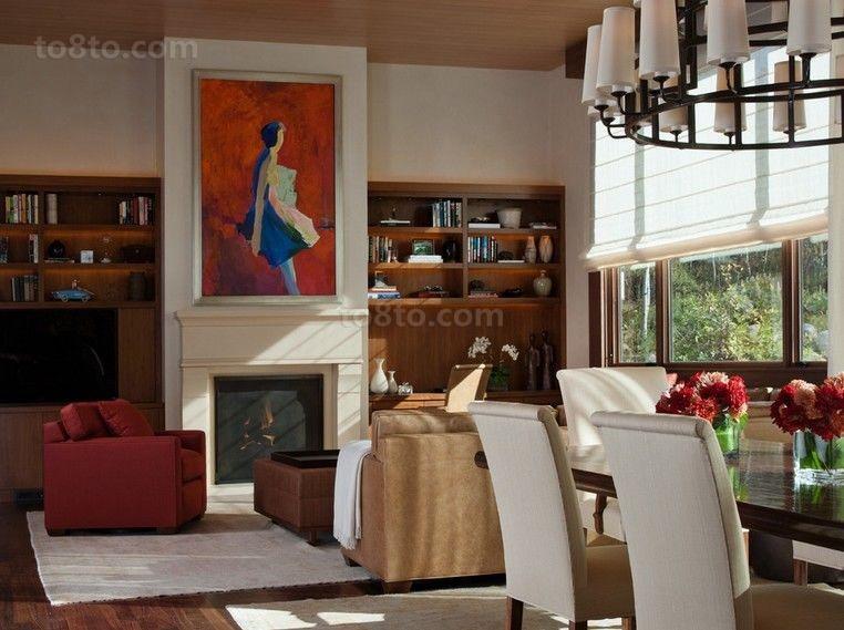 明朗典雅美式风别墅客厅装修效果图大全2014图片