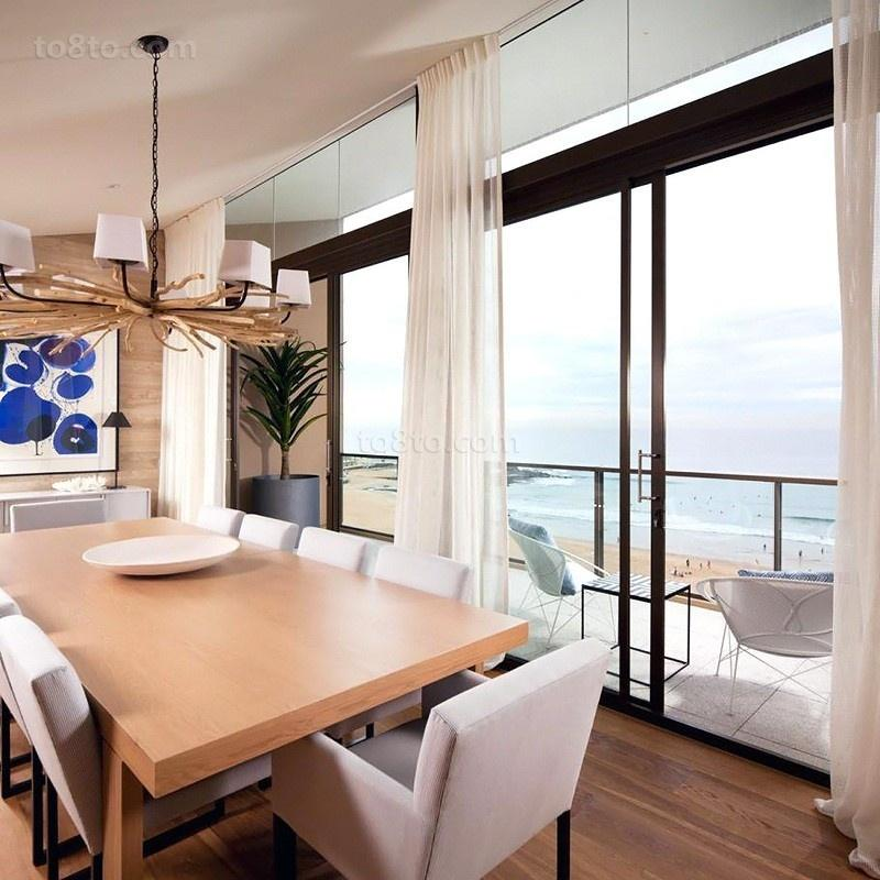 原木元素的海景房现代风格装修餐厅图片