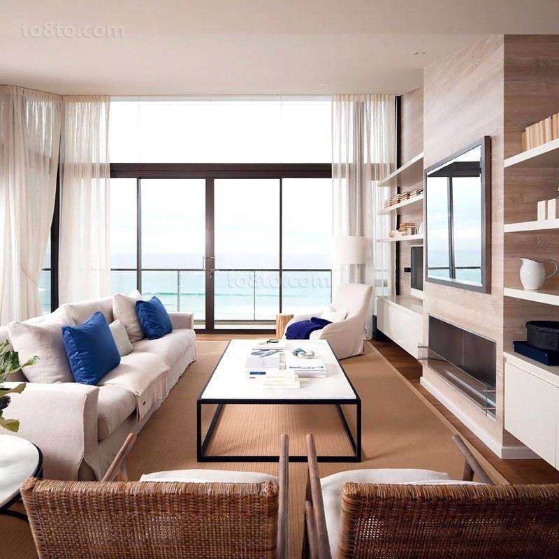 原木元素的海景房现代风格装修客厅图片
