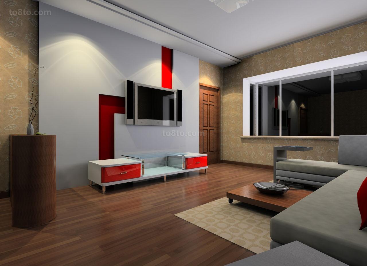 白色中带有一道红的电视背景墙装修效果图大全2014图片