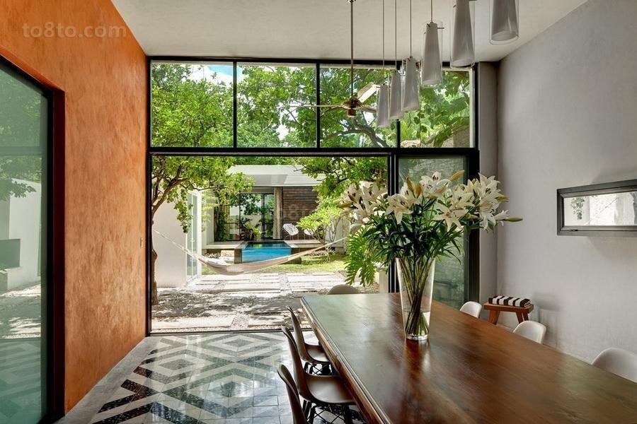 经典奢华的现代美式风格餐厅吊顶装修效果图
