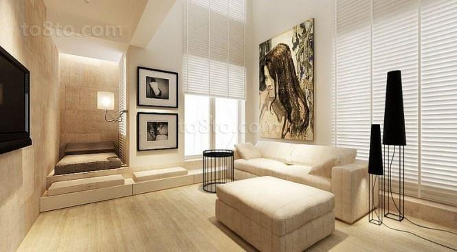 89平小户型装修效果图 淡雅复古风情的客厅