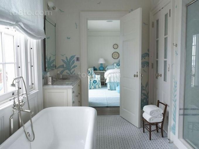 78平米小户型淡蓝色调卫生间装修效果图大全2014图片