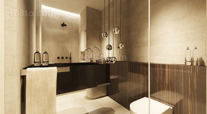 89平小户型淡雅的卫生间装修效果图