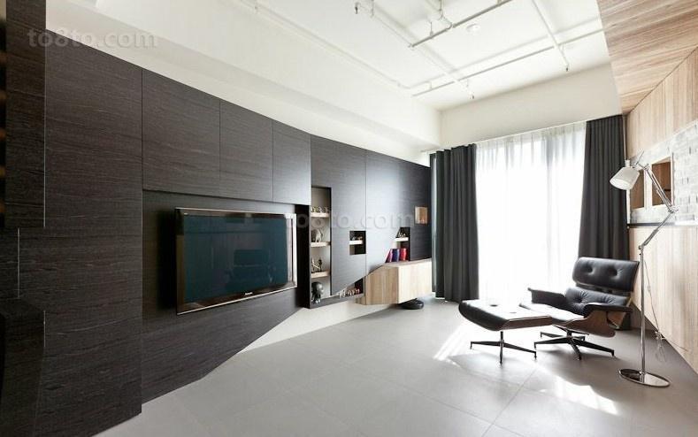 黑色调客厅电视背景墙装修效果图大全2012图片