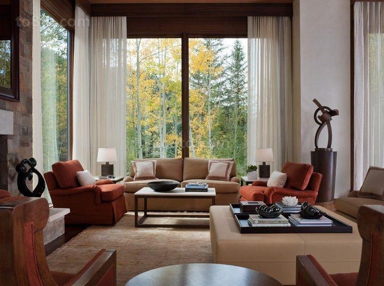 家居美式乡村别墅客厅装修效果图大全2014图片