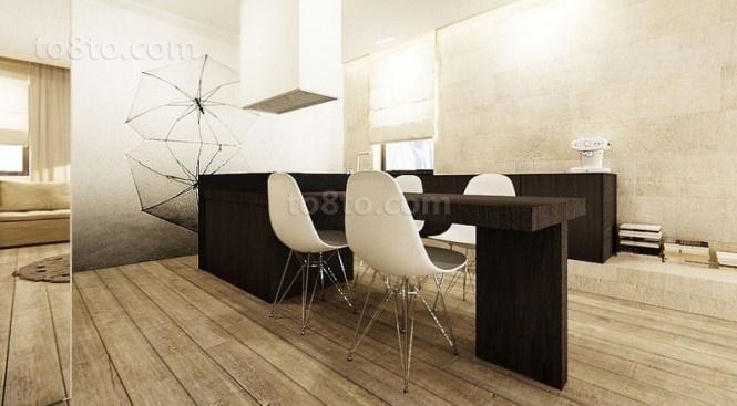 89平小户型装修效果图 淡雅复古风情的餐厅