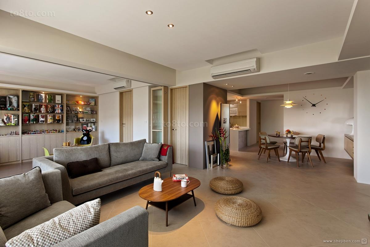 简约家居装饰效果图_2018精选面积92平简约三居客厅设计效果图-土巴兔装修效果图