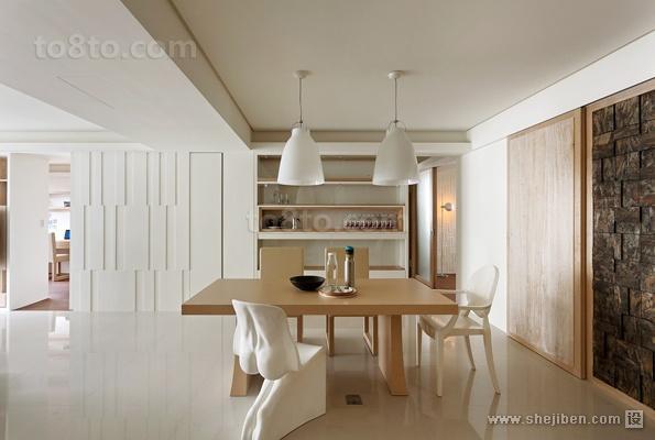 50平米白色简约单身公寓餐厅装修效果图大全2014图片