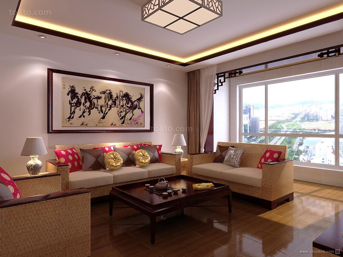 中式古典文韵的客厅装修效果图大全2014图片