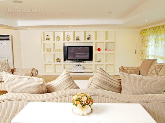 清新淡雅的现代元素的欧式风格电视背景墙装修效果图大全2012图片