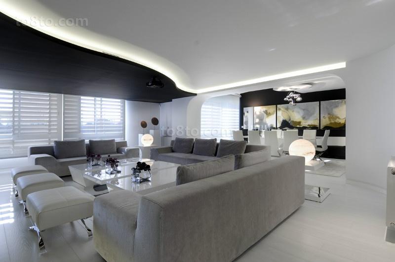 三室两厅两卫现代极简风客厅装修效果图大全2014图片