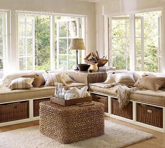 美式风格飘窗装修效果图 客厅飘窗装修效果图