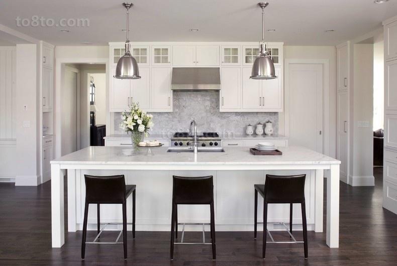 复式楼装修效果图 白色清新的厨房欣赏