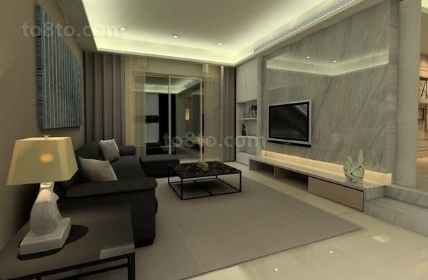 现代简约二居室客厅装修效果图大全2014图片
