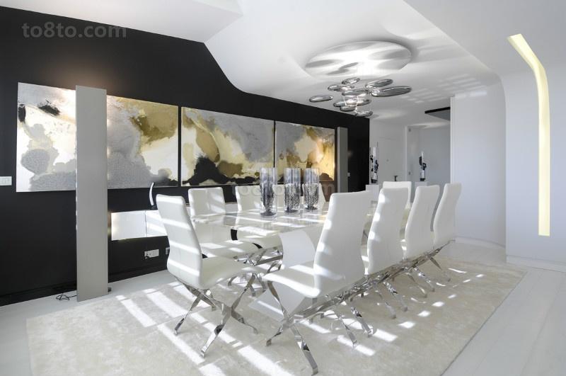 白色简约的复式楼餐厅装修效果图大全2014图片