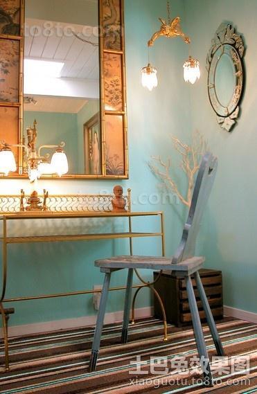 蓝色清新的卫生间装修效果图大全2014图片