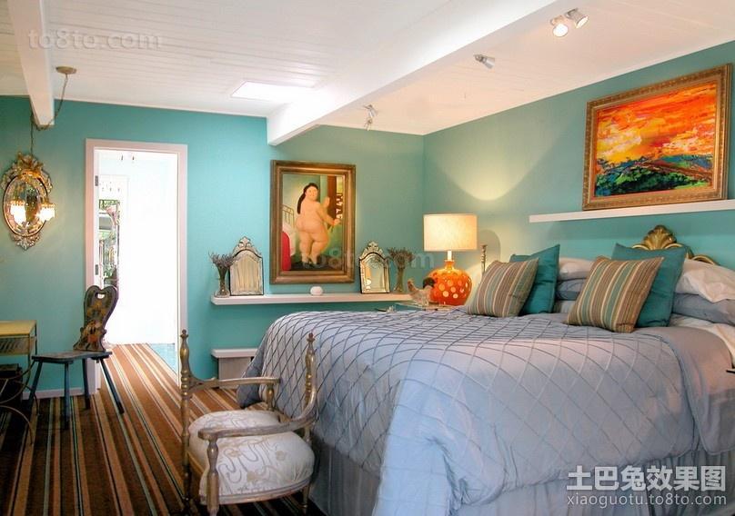蓝色清新的卧室装修效果图大全2014图片