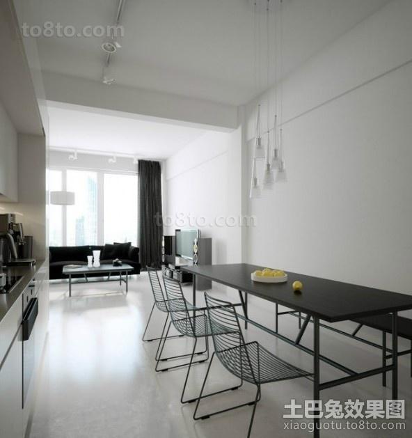黑与白的对比后现代装修风格餐厅效果图