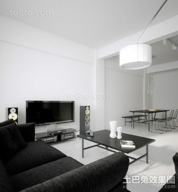 黑与白的对比后现代风格电视背景墙装修效果图大全2014图片