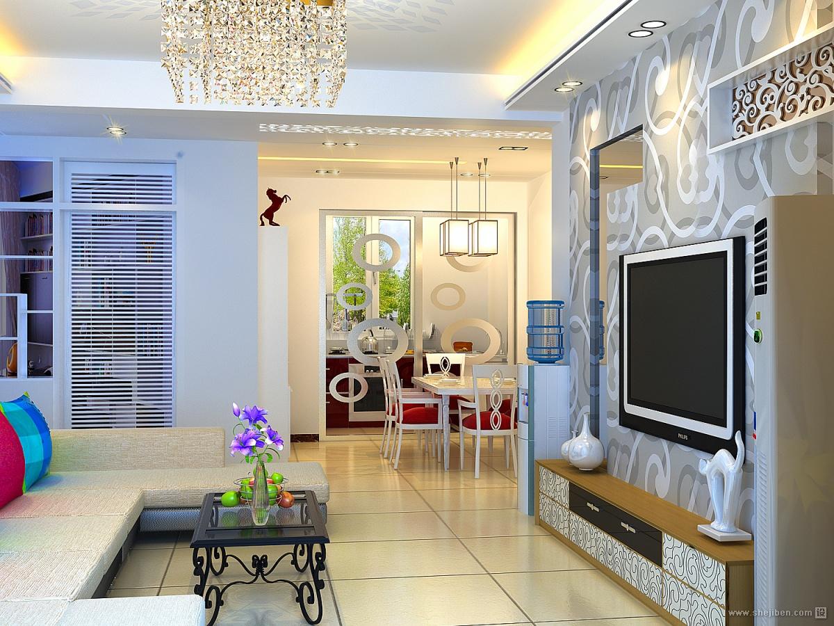 精美89平米混搭小户型客厅效果图片欣赏