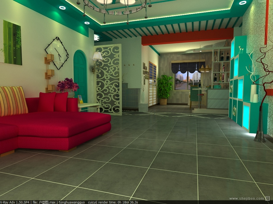 2018面积89平小户型客厅混搭装修设计效果图