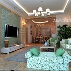 精选102平客厅三居混搭装修设计效果图片大全