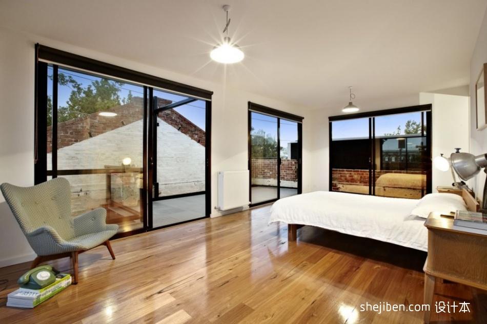 现代风格简单80后男孩别墅卧室落地窗带阳台装修效果图片