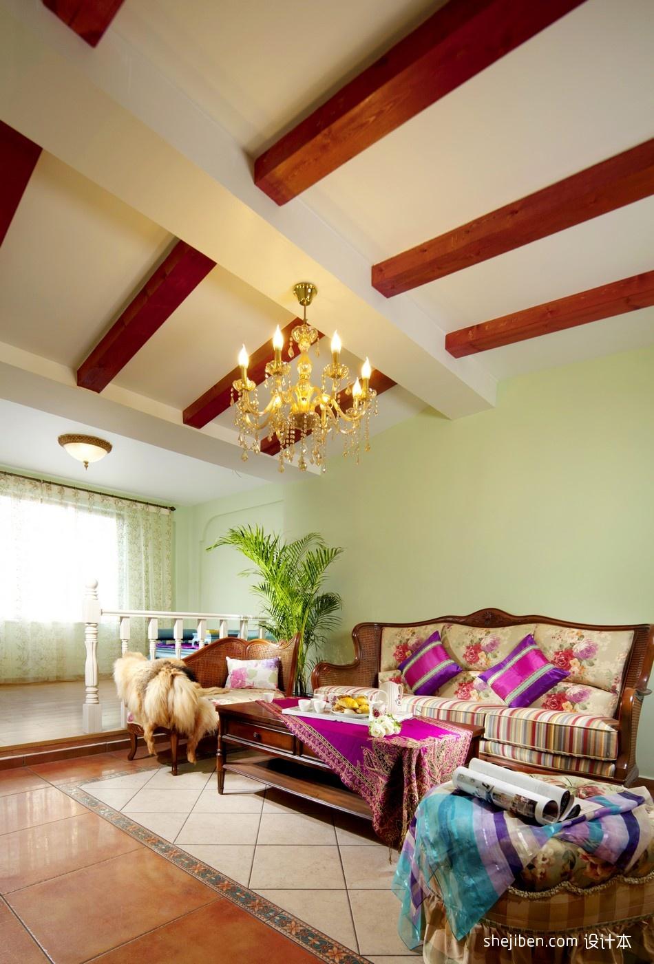 混搭客厅实木木条吊顶装修效果图