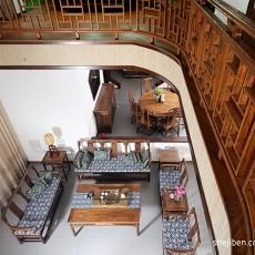 中式风格别墅挑高客厅家具摆设效果图