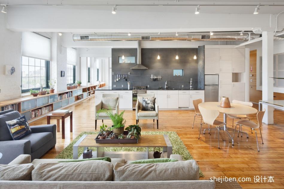 复式住宅设计现代室内客厅餐厅装修效果图