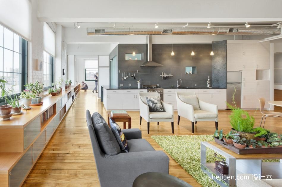 复式住宅设计现代客厅开放式厨房装修效果图