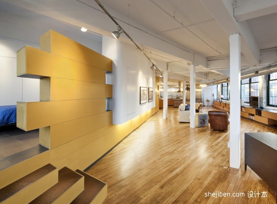 复式住宅设计过道个性隔断墙装修效果图