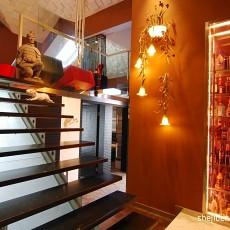 2017现代风格复式楼转角实木楼梯装修效果图片