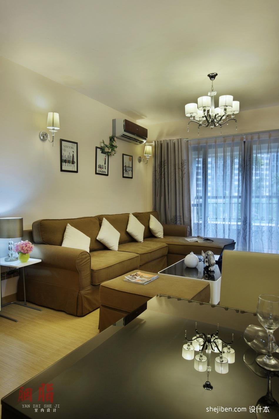 廣州胭脂設計現代簡約風格客廳吊燈裝修效果圖