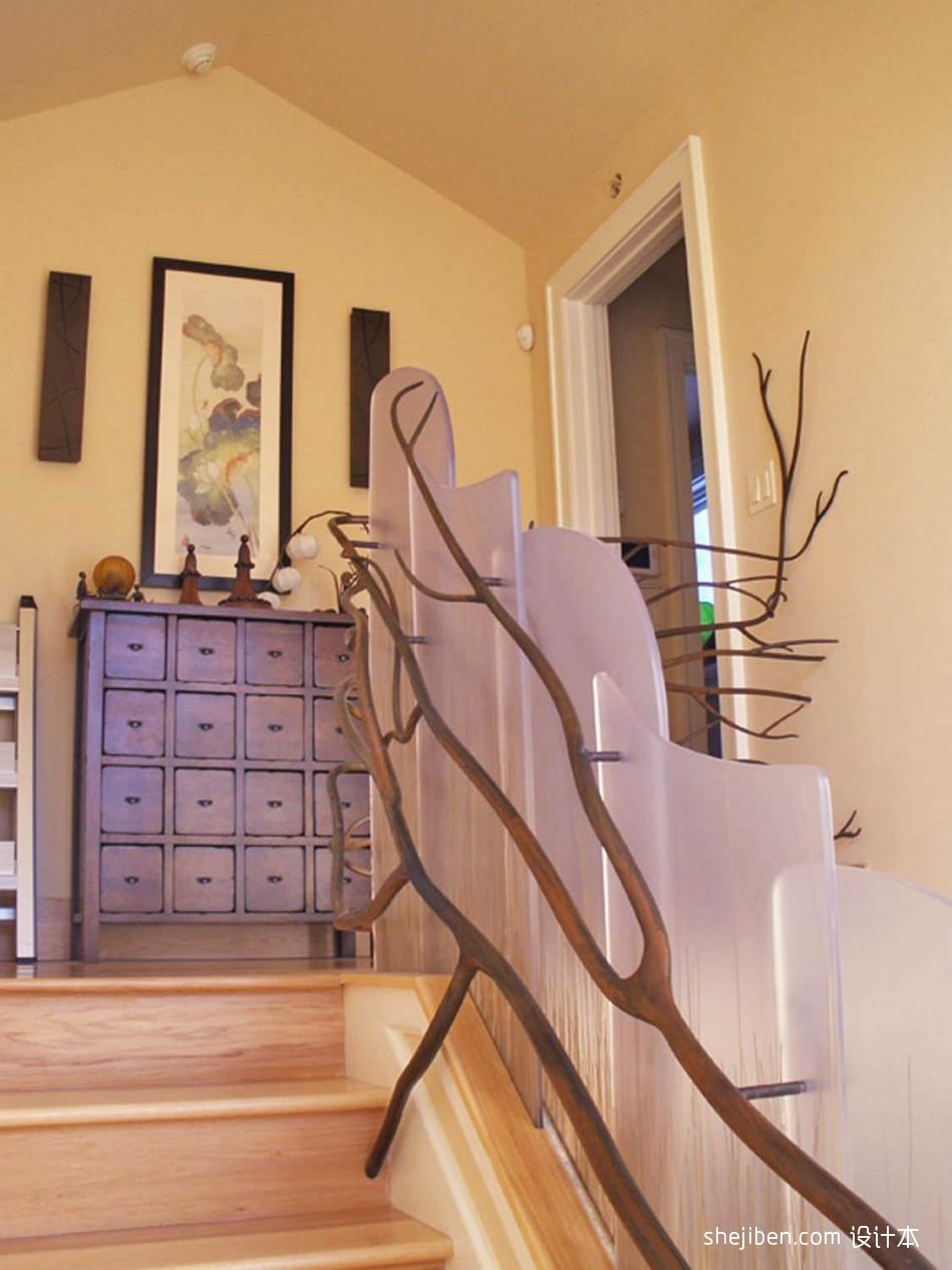 2017混搭风格别墅室内装饰木艺楼梯护栏装修效果图