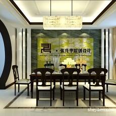 热门面积120平别墅餐厅中式装修欣赏图片