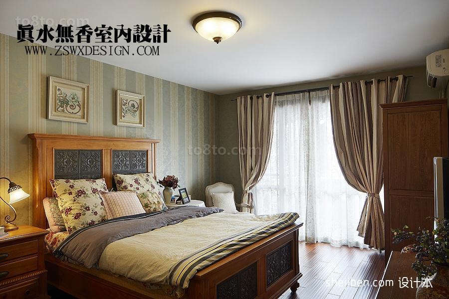 2013主卧室床头背景墙落地窗窗帘装修效果图