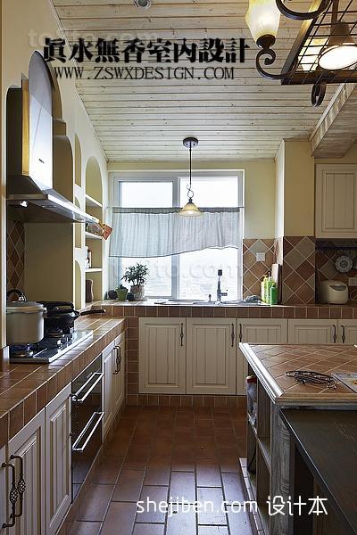 2013L型整体厨房墙面瓷砖装修效果图