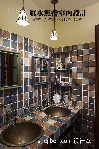 复式楼室内卫生间马赛格瓷砖装修效果图片