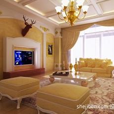 三居混搭客厅装修实景图片