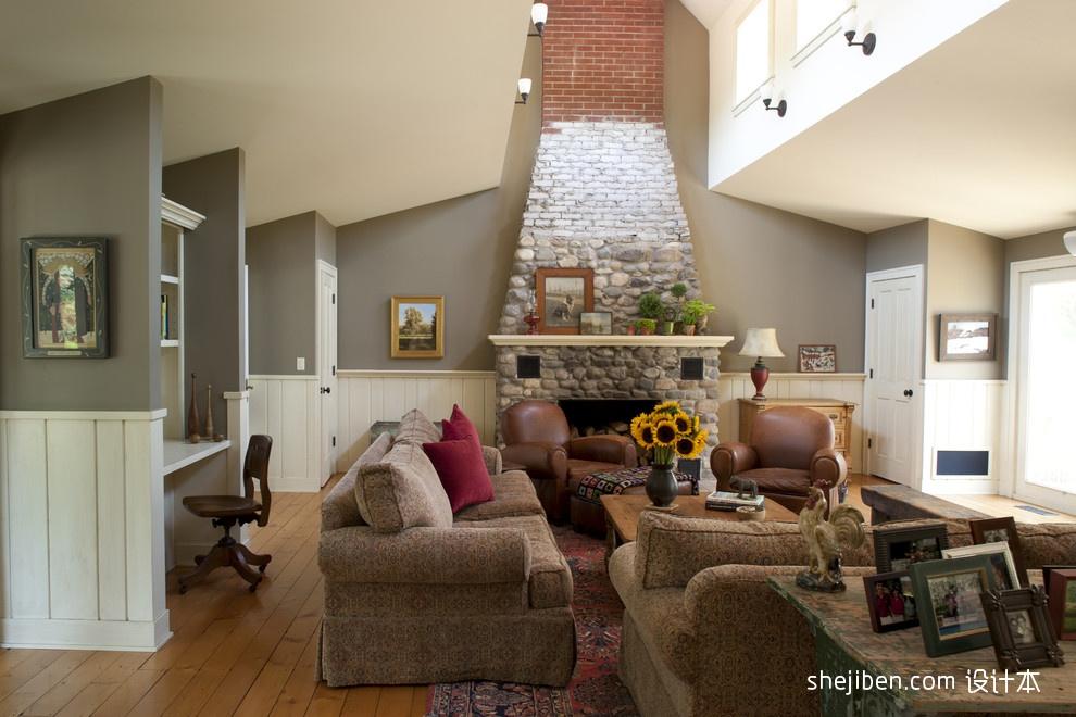 温馨美式田园别墅客厅壁炉背景墙装修效果图