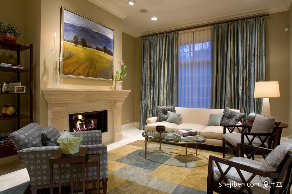 欧式客厅壁炉背景墙装修效果图