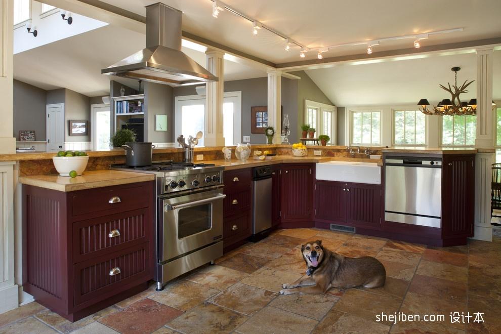 温馨美式田园别墅开放式厨房装修效果图