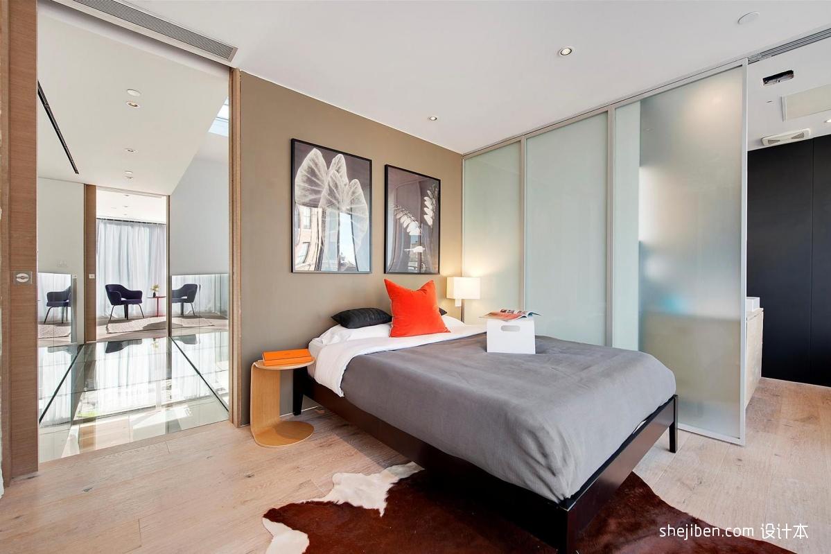 现代简约风格卧室隔断玻璃移门装修效果图片