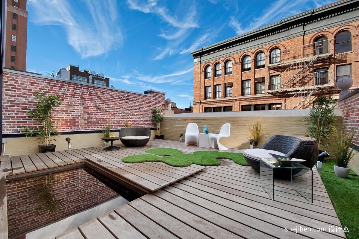 露天观景休闲阳台花园地台椅子木地板装修效果图片