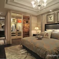 欧式风格别墅豪华主卧室床头背景墙带衣帽间装修效果图